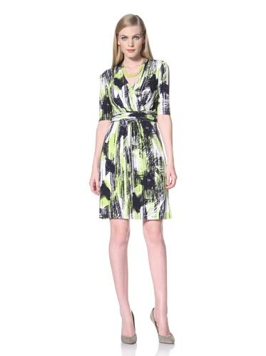Ellen Tracy Women's Print Dress with Elbow Sleeves (Navy/Green)