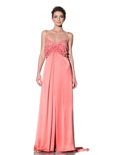 Badgley Mischka Women's Gown with Tiered Top (Coral)