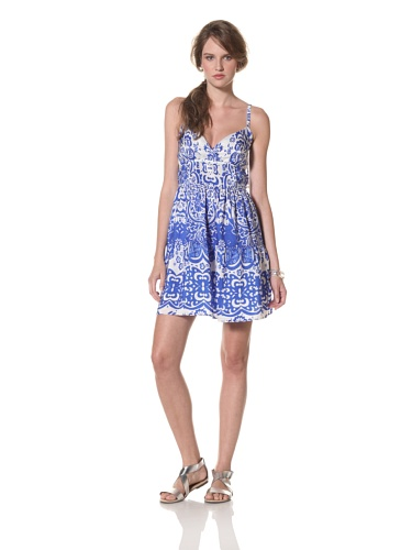 COLLETTE BY COLLETTE DINNIGAN Women's Shoestring Ruffle Short Dress (Sea Blue)