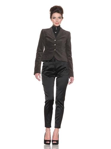 D&G by Dolce & Gabbana Women's Velvet Blazer (Brown)