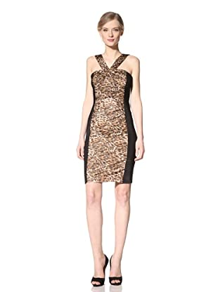 Carmen Marc Valvo Women's V-Neck Ruched Animal Print Dress (Tawny)
