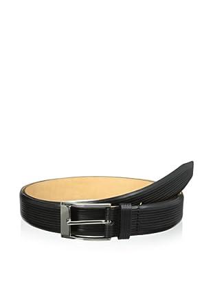 Trafalgar Men's Parallel Emboss Print Belt (Black)