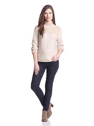525 America Women's Colorblock Sweater (Winter White Combo)