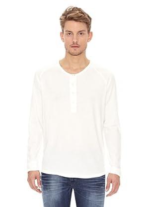 Nudie Jeans Camiseta ML Cuello Panadero (Blanco)