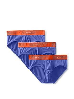 2(X)IST Men's Touch Contour Pouch No Show Briefs - 3 Pack (Fiji Orange/True Blue)