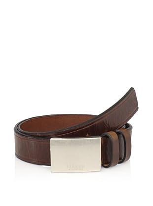 Maker & Company Men's Plaque Double Loop Belt (Brown)