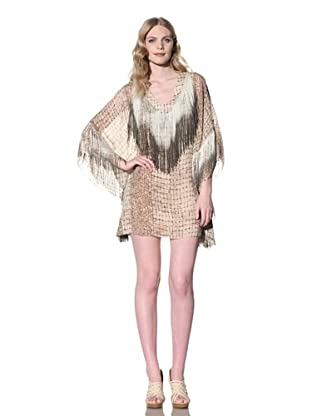 Sheri Bodell Women's Caftan Dress with Dip-Dyed Fringe (Blush)