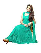 Clickedia GREEN Women Brasso and Net Beautiful anarkali suit (G0001-GREEN))