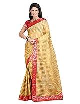 Vibes Women's Bhagalpuri Art Silk Saree,With Blouse (S54-VBK163_Golden)