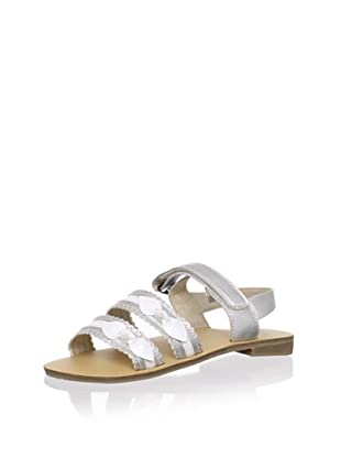 L'Amour Shoes Kid's Strappy Bow Sandal (Silver)