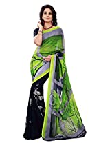 Silk Bazar Women's Faux Georgette Saree with Blouse Piece (Green & Blue)