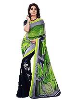 Silk Bazar Women's Faux Georgette Saree with Blouse Piece (Green & Blue)