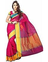 "Asavari Rani Rose ""Reversible"" Organza Cotton Banarasi Saree"