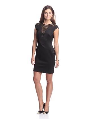 Alexia Admor Women's Ponte Dress with Illusion Neckline (Black/Gold)