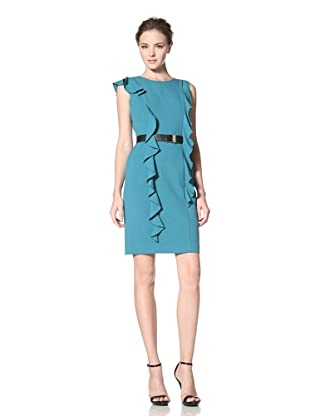Calvin Klein Women's Dress with Long Ruffle Detail and Belt (Blue Spruce)