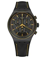 Swatch Black Leather Analog Men Watch YVB400