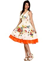 Ivory Barbie Dress with Printed Flowers - Pure Cotton [Apparel]