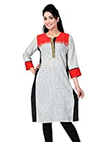 Lifestyle Retail Women Straight Kurta (TRN-1137-7088_White_X-Larg)