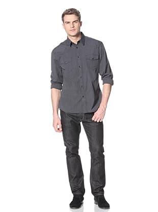 Dorsia Men's Joe Long Sleeve Button-Up Shirt (Black Pinstripe)