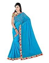 Surat Tex Sky Blue Chiffon Wear saree blouse designs with Blouse Piece