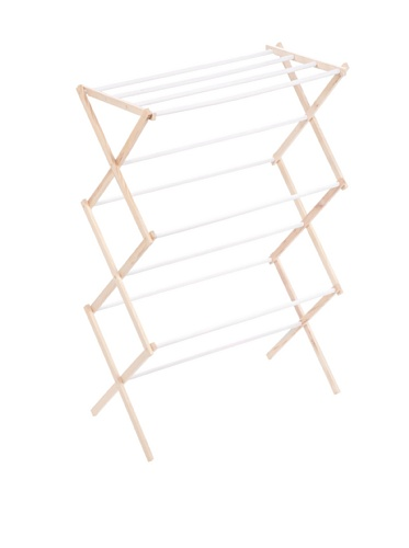 Honey-Can-Do Wooden Clothes-Drying Rack, White/Natural