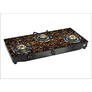 Surya Flame Glaze Black Coffee 3 Burner Glass Top Gas Stove, multicolor