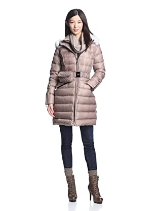 Dawn Levy Women's Laya Down Coat with Fur Trim (Cappuccino)
