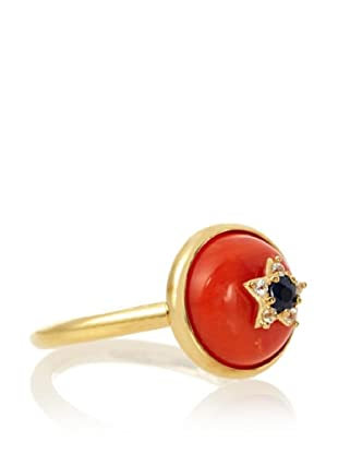 Elizabeth and James Coral Orange Victorian Star Small Ring