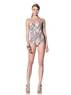 diNeila Women's Halter Neck One Piece Swimsuit (Snake)