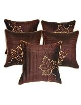 Zikrak exim Leaf embroidery cushion cover brown 5 pcs set 40 x 40 cm