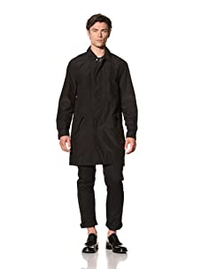 Pringle of Scotland Men's Trench with Leather Trim (Black)