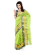 B3Fashion Parrot Green coloured Traditional Bengal Tant Handloom saree with elegant Mustard & zari weave border and 1000 Buti work all over the saree a perfect traditional saree with a twist