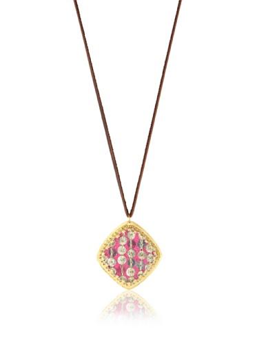 Presh Diamond-Shaped Pendant Necklace, Gold/Magenta