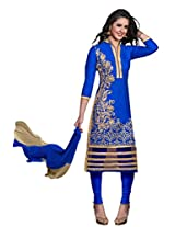 Suchi Fashion Blue Embroidered Cotton Semi Stitched Salwar Suit