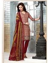Saara Red Printed Dress Material - 144D4027
