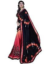 Manvaa black and pink saree -SGN21703