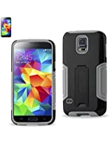 Reiko Hybrid Case with Kickstand for Samsung Galaxy S5 - Retail Packaging - Gray/Black