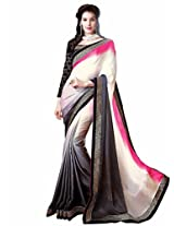 Shoppingover festival partywear saree in Black color