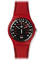 Swatch SUOR104 Red Brake Black White Dial Silicone Rubber Band Unisex Watch NEW