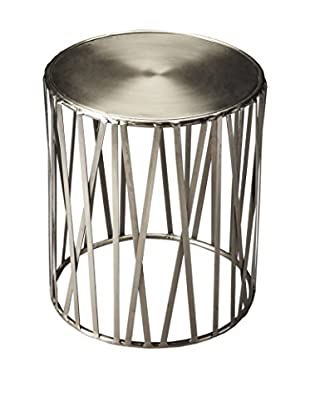 Butler Specialty Company Drum Table, Polished Platinum