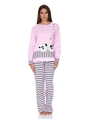 Muslher Pijama Señora Con Tapeta Tira Bordado Perritos (Malva)