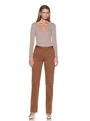 Loro Piana Women's Flat-Front Pants (Brown)