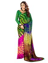 Vibes Women's Weighless butic Saree with Blouse (S22-1408B_Multi-Coloured)