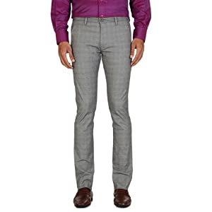 Business Casual Checked Flat Front Trouser