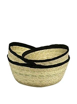 Canvas Home Palm Leaf Round Basket Set