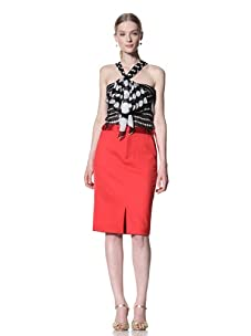 Bill Blass Women's Tuxedo Pencil Skirt (Red)