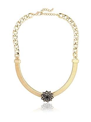 Stellar NYC Art Deco Inspired Hematite Gold Necklace