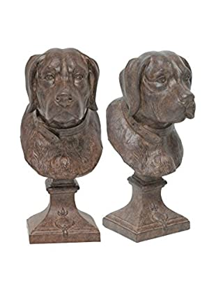 The Import Collection Pair of Dog Head Bookends, Brown