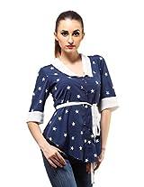 Ladybug Womens Polyester Long Sleeve Top ,Blue ,Medium