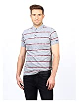 Casual Printed 100 Cotton Muscle Tshirt -Grey-S